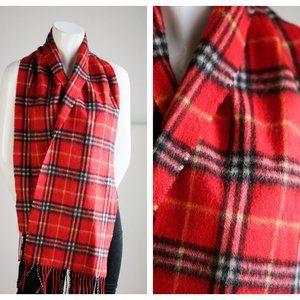 Wool Classic Red Black w Fringe Unisex Warm Scarf